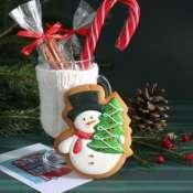 Пряник новогодний Снеговик с елочкой