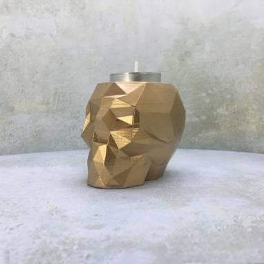 Полигональный череп золотой подсвечник ручной работы