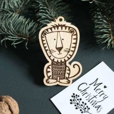 Деревянная елочная игрушка Тигр ручной работы