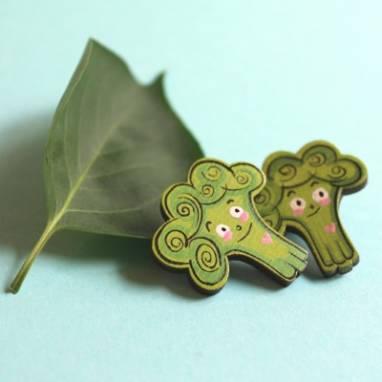 брошка значок брокколи ручной работы