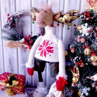 текстильная интерьерная новогодняя игрушка Лось новогодний ручной работы