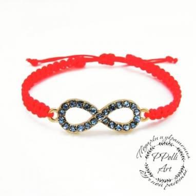 Плетеный браслет красная нить с символом бесконечность ручной работы
