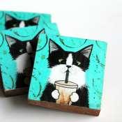 Магнит деревянный кот с соком