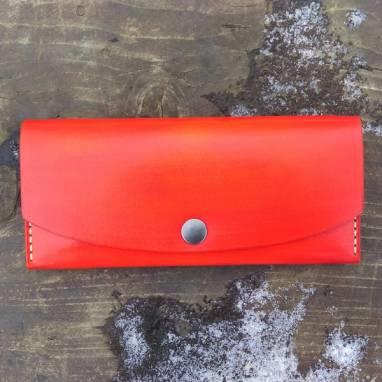 Оранжевый женский кошелек из кожи ручной работы. ручной работы