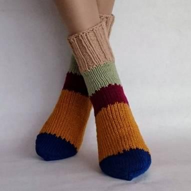 """Носки женские - домашняя обувь """" Мозаика """" ручной работы"""