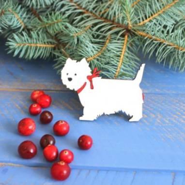 """магнитик из дерева """"Собака"""" символ 2018 года ручной работы"""