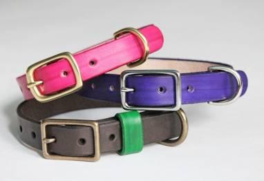 Ошейник кожаный для собаки (Purple) ручной работы
