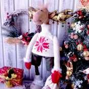 текстильная интерьерная новогодняя игрушка Лось новогодний