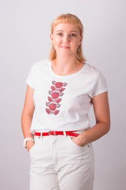 """Женская футболка вышиванка """"Ружа"""" ручной работы"""
