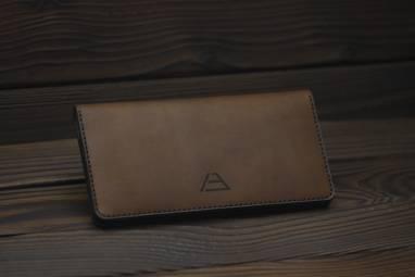Большой кошелёк из кожи и фетра ручной работы
