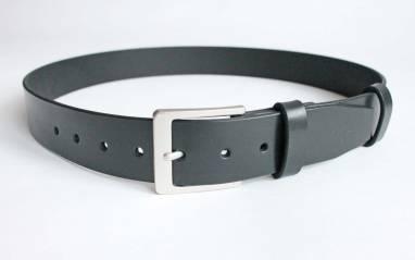 Ремень кожаный (black casual 2) ручной работы