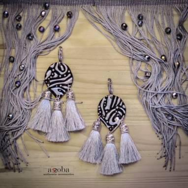серьги-кисточки в восточном стиле ручной работы
