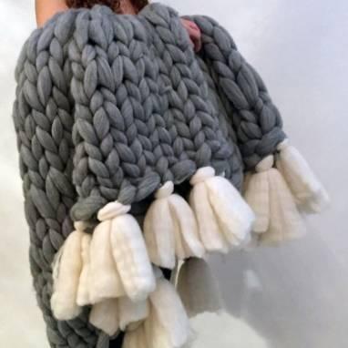 Плед вязанный шерсть мериноса ручной работы