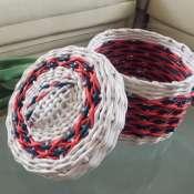 Корзинка (круглый короб) из бумажной лозы