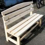 Скамейка со спинкой из натурального дерева