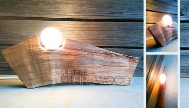 Светильник настольный из древесины ручной работы