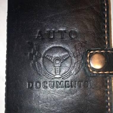 Обложка для авто документов из кожи ручной работы  ручной работы