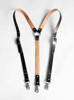 Подтяжки кожаные (VT black) ручной работы