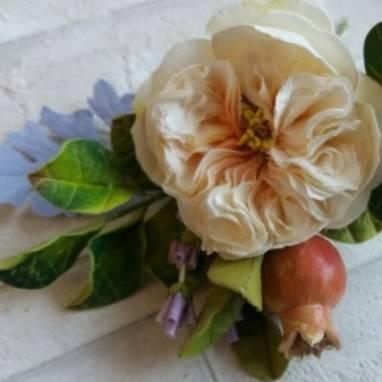 свадебная ветка в волосы с розой ручной работы