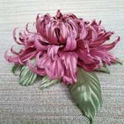 Брошь-заколка с цветком из натурального шелка