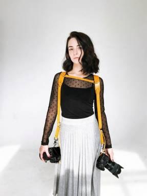 Разгрузка фотографа кожаная на 2 камеры (yellow) ручной работы