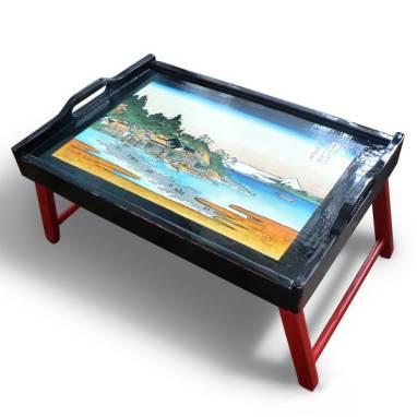 Прикроватный столик с гравюрой Кацусико Хокусай ручной работы
