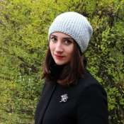 шапка бини цвета серый меланж