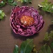 Брошь цветок пион с янтарем из натуральной кожи