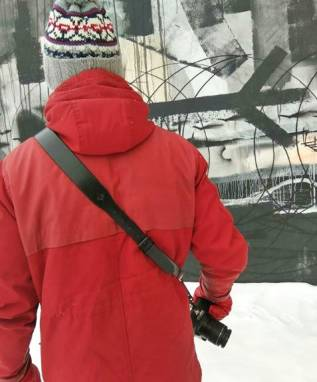 Разгрузка фотографа кожаная на 1 камеру (black matte) ручной работы