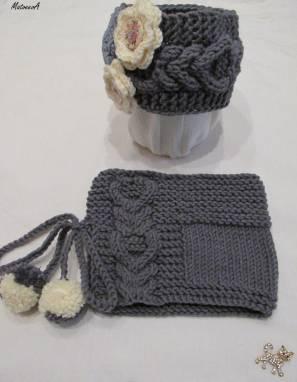 Комплект вязаный повязка и снуд «Волшебная фея» ручной работы