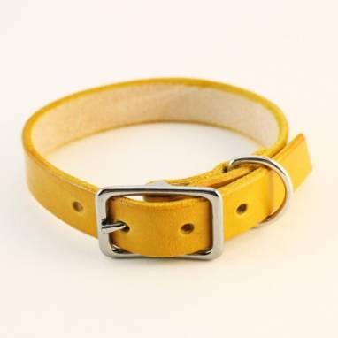 Ошейник кожаный (Yellow, SH) ручной работы