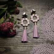 серьги -кисти с розовым кварцем