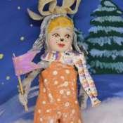 """Игрушка новогодняя  из ваты. Серия """"Дружный Новый год"""": Собачка с флажком"""
