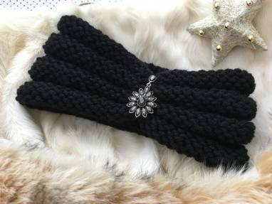 Повязка, повязка-чалма чёрная  ручной работы
