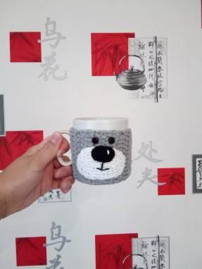 Вязанный чехол на кружку мишка ручной работы