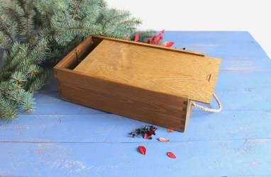 Крашенная коробка для вина на 2 бутылки  ручной работы