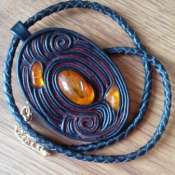 Медальон/кулон с янтарем