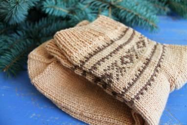 Носки мужские с жаккардовым узором ручной работы