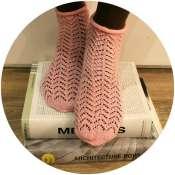 Носочки вязанные ажурные нежно-розовые