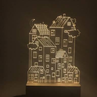 Ночник из акрилового стекла с домами ручной работы