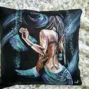 подушка декоративная с ручной росписью