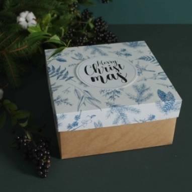 Новогодняя картонная коробка ручной работы