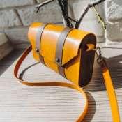 Женская сумка-клатч из кожи и дерева (Wood leather bag)
