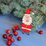 новогодний магнит из дерева Санта