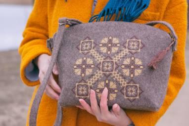 """Шэрсцяная сумка """"Багацце арнамента"""" ручной работы"""