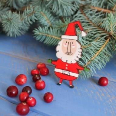 """новогодний магнит из дерева """"Санта"""" ручной работы"""