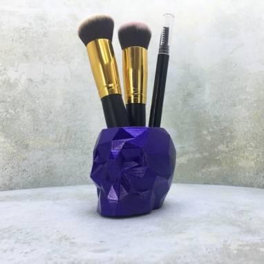 Фиолетовый полигональный горшок череп ручной работы