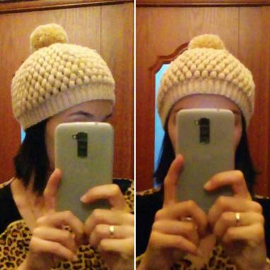 Теплая, вязаная шапка осень-зима ручной работы