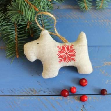 игрушка на елку, символ года 2018 собака ручной работы