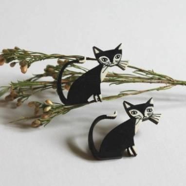 Брошка Черный Кот ручной работы